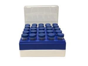 C2581, Freezer box, polycarbonate, for 25 (5x5) 5mL tubes - CS - MTC Bio - MTC Bio