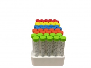 C2715, MTC BIO SpectraTube™ 15ml PP (17x118mm), flat rainbow screw cap, 50/foam rack (Case of 500) - CS - MTC Bio - TUBES AND VIALS