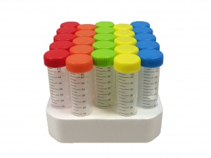 C2750, MTC BIO SpectraTube™ 50ml PP (29x115mm), flat rainbow screw cap, 25/foam rack (Case of 500) - CS - MTC Bio - TUBES AND VIALS
