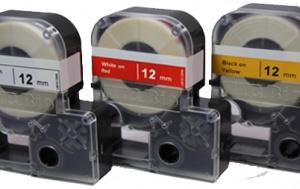 L9010-12RW, 26' Cassette of 12mm lab tape, red w/ white print - EA - MTC Bio - MTC Bio