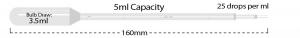 P4113-11, MTC BIO Transfer Pipette 5 mL Capacity, STERILE, GRADUATED, LARGE BULB - Individually Wrapped (Case of 500) - CS - MTC Bio - PIPETTES