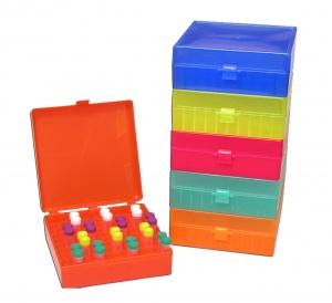 R1020-B, MTC BIO Storage Box, hinged lid, 100 x 1.5mL, Blue (Case of 5) - CS - MTC Bio - GENERAL LAB SUPPLIES