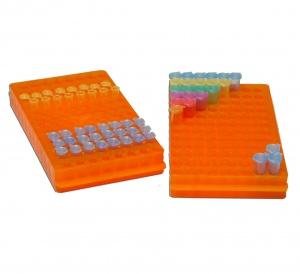 R1050, MTC BIO Rack, reversible, 96x1.5/0.5mL, (112x250mm) Orange - CS - MTC Bio - GENERAL LAB SUPPLIES