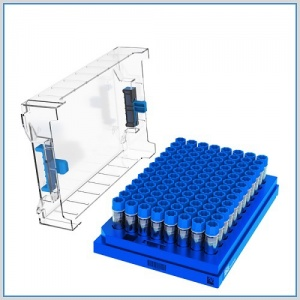 89-3153, CryoKING 1.5ml CLEAR POLYPROPYLENE STERILE PRE-SET BOTTOM 2D BARCODED CRYOVIALS WITH EXTERNAL THREAD AND BLUE CAPS ASSEMBLED. VIALS COME LOADED IN CryoKING 2 INCH 100 WELL, 100 VIALS/BOX, 1 BOX/BAG, 6 BAGS/PACK, 2 PACKS/CASE - CS - BIOLOGIX - BIOLOGIX