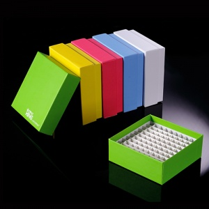 90-6281, CryoKING 2 INCH 81 WELL WATER RESISTANT ID-ColorTM CARDBOARD FREEZER BOXES WITH HINGED LID AND POLYPROPYLENE DIVIDER. BOXES HAVE MARKED ALPHANUMERIC GRID FOR IDENTIFICATION PURPOSES. BOXES COME IN ASSORTED COLORS (RED, BLUE, GREEN, YELLOW AND WHI - CS - BIOLOGIX - BIOLOGIX