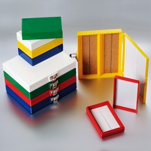 """41-6100, BIOLOGIX 100-PLACE ASSORTED COLOR (RED, YELLOW, GREEN, BLUE AND WHITE) NON-STERILE ABS MATERIAL SLIDE STORAGE BOX WITH CORK LINING FOR USE WITH 1"""" AND 3"""" MICROSCOPE SLIDES. COMES WITH HINGED COVER THAT INCLUDES SLIDE INDEX SH (Case of 20) - CS - BIOLOGIX - GENERAL LAB SUPPLIES"""